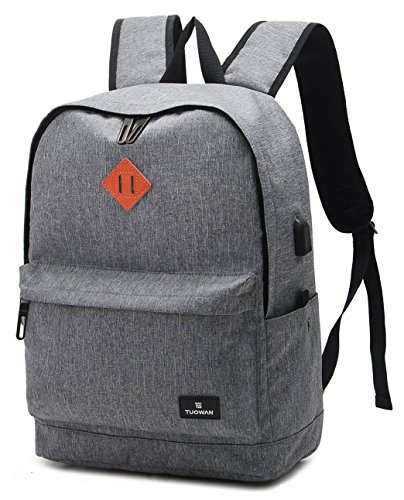 Canvas School Backpack Bookbag 15.6 inch Laptop Travel Bag with USB Charging Port