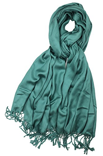 (Achillea Women's Super Soft Luxurious Pashmina Shawl Wrap Scarf Stole in Solid Colors (Pine Green))