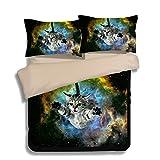 FAITOVE Galaxy Cat Microfiber 3pc 90''x90'' Bedding Quilt Duvet Cover Sets 2 Pillow Cases Queen Size