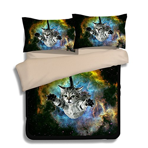 FAITOVE Galaxy Cat Microfiber 3pc 90''x90'' Bedding Quilt Duvet Cover Sets 2 Pillow Cases Queen Size by FAITOVE