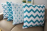 Decorative Pillow Cover - Howarmer® Canvas Cotton Aqua Blue Decorative Throw Pillows Cover Set of 4 Geometric Pattern Cushion Cover for Couch 18