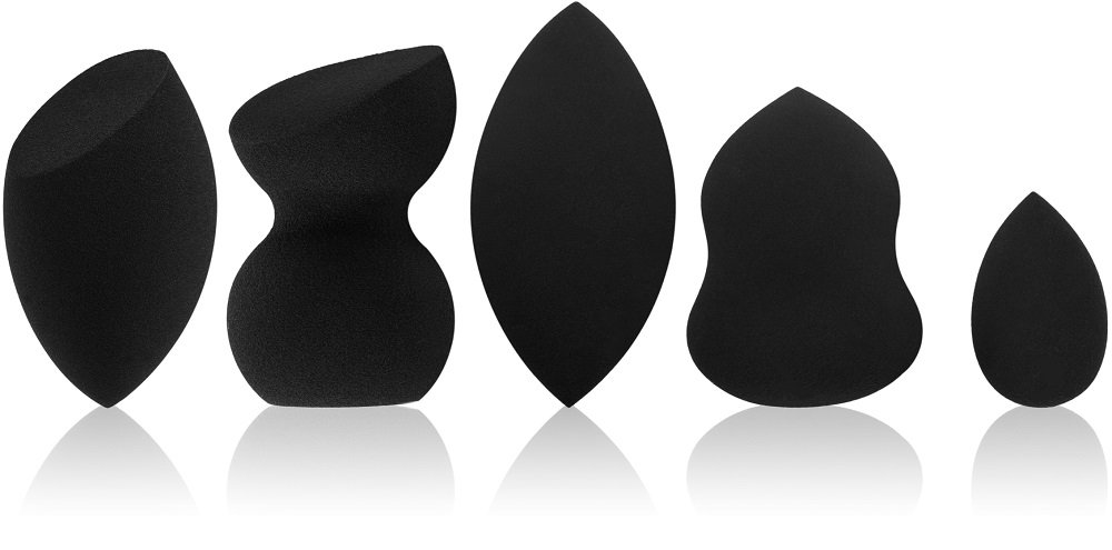 Beauty Makeup Blender/Foundation Sponge Set (5 Sponges). Original Teardrop, Egg and other Shapes Available. Vegan, Latex Free. For use with Liquids, Concealer and Cream Make up. Studio 5 Cosmetics