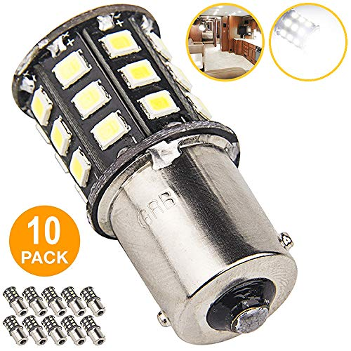 New Generation 1156 1141 1003 33-SMD LED Light bulb Use for RV Indoor Lights, Back Up Reverse Lights, Brake Lights, Tail Lights, Rear Turn Signal Lights (10-Pack, White 6000K-6500K) 1156 Led 12v Bulb