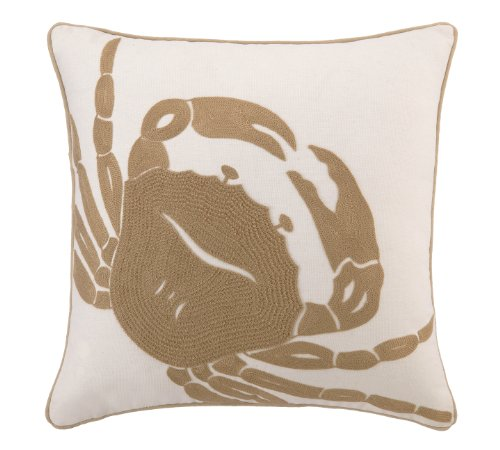 Peking Handicraft Crewel Embroidery Stitch Linen Pillow, Crab, Taupe, 18 by 18-Inch