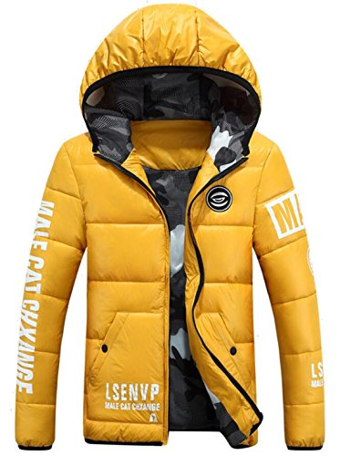 EKU Men's Athletic Warm Coat Winter Hooded Down Jackets Yellow US XXL