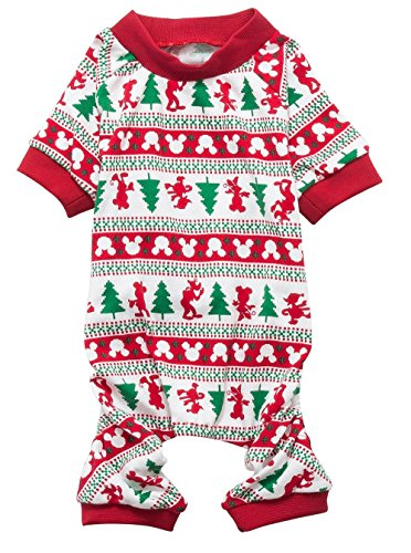 Christmas Tree Xmas Pet Clothes for Dog Pajamas Soft Christmas PJS, Back Length 16