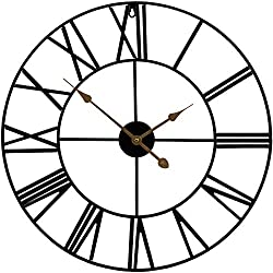 Sorbus Wall Clock, 24 Round Oversized Centurian Roman Numeral Style Home Décor Analog Metal Clock (Black)