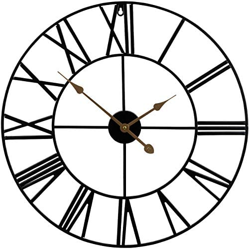 Sorbus Large Decorative Wall Clock, 24 Round Oversized Centurian Roman Numeral Style Modern Home Decor Ideal for Living Room, Analog Metal Clock Black