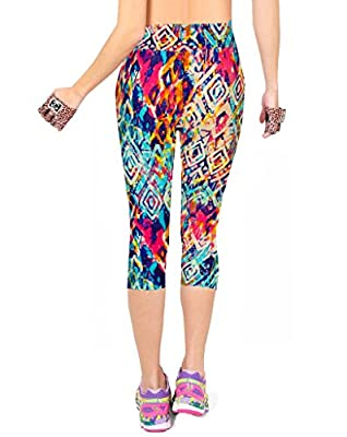 Manstore Women's Printed Active Workout Capri Leggings Fitted Stretch Tights