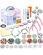 Deluxe Jewelry Making Supplies Kit,Jewelry Making Tools Kit Includes Assort Beads,Charms,Findings, Bead Wire,Pliers,Storage Case for Necklace, Bracelet, Earrings Making Repair