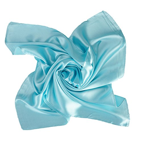 Women's Fashion Soft Satin Square Scarf Set Head Neck Multiuse Solid Colors Available from HERRICO
