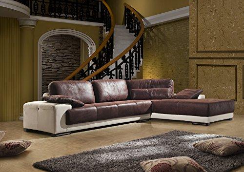 Microfaser Wild-Leder Optik Couch Ecksofa Mikrofasersofa 5042-R-PU