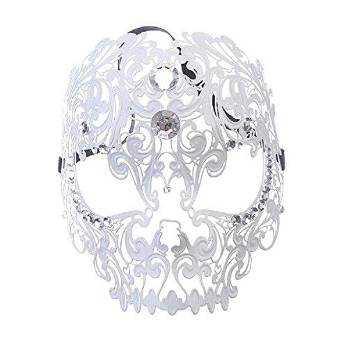 ZhengYa Masquerade Mask Filigree Metal Skull With Rhinesones For Women Halloween Costume Masked Ball Fancy Party 5 -