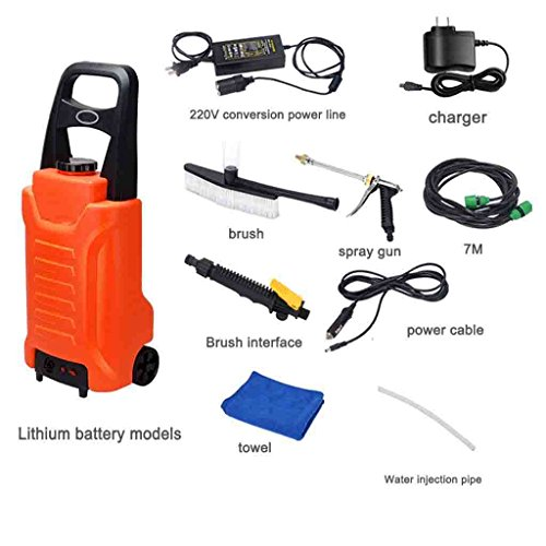 Roscloud  Portable Household Car Lithium Triple Car Washer 12V High Pressure Electric Water Guns Lever Box Type Car Washer Green Orange Lithium Battery   Eight Pieces  Color   C