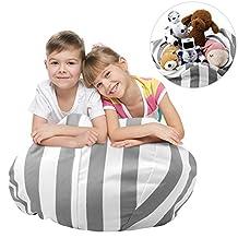 "Storage Bean Bag Chair, Zooawa Kids Bedroom Organizer for Plush Cuddly Jumbo Animal Toys - 26"", Grey + White Stripe"