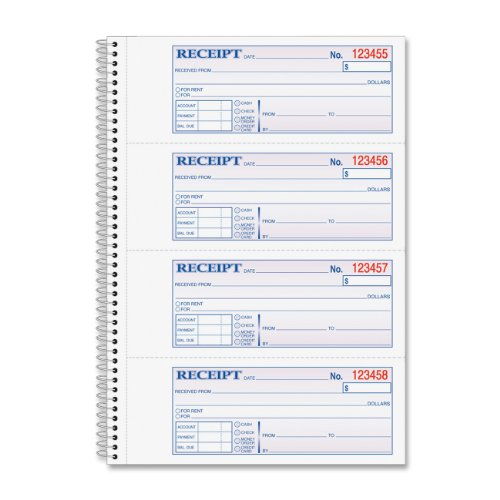 Adams Money and Rent Receipt Book, 2-Part Carbonless, 2.75 x 7.13 Inch Detached, Spiral Bound, 200 Sets per Book (SC1182)
