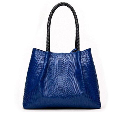 Sapphire haute à JUNBOSI femmes messager Blue main de le grand mobiles cuir sac de ensembles serpentine des de simple 2 noms qualité en Sacs sac moderne de grands ww0r5qF