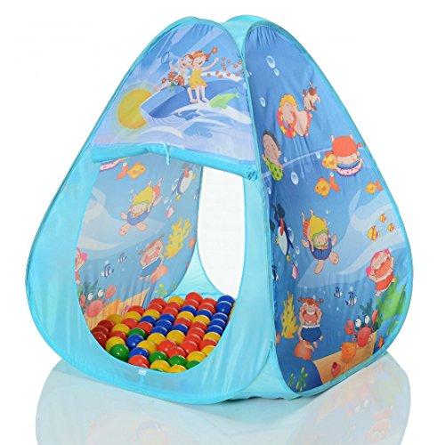 LCP KIDS Pop Up Spielzelt Ocean Pyramide als Kinder Spielhaus und Bällebad mit 100 Bällen