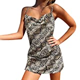 Winsummer Women's Sexy Spaghetti Straps Open Back Snakeskin Print Bodycon Cocktail Party Club Dresses Gray