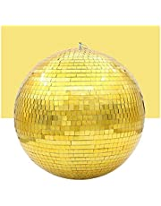 Stage Light 30cm Mirror Disco Ball Stage Light Rotating Glass Ball Big Party Decorations ktv bar dj Lighting Reflection Colorful Mirror Ball (Color : Gold, Plug Type : Diameter 30cm 11.8in)