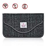 Faraday Bag, Harris Tweed GPS RFID Signal Blocking Bag Shielding Pouch Wallet Case for Cell Phone Privacy Protection and Car Key Fob Protector Anti-Tracking Anti-Spying