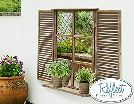 Shabby Chic Wooden Garden Mirror Shutters Outdoor Illusion Window Antique Effect