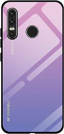 Yunbaoz Colore Sfumato Cover per Huawei P30 Lite, Indietro Vetro Temperato Finale con Telaio in TPU Real Glass Morbido Silicone AntiGraffio Antiurto ...