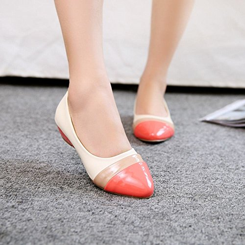 Shoes leather Low Heel Pumps Pointed Patent Faux Womens peach Fashion Multicolored Latasa toe red toe Dress Wedge vOgSqg