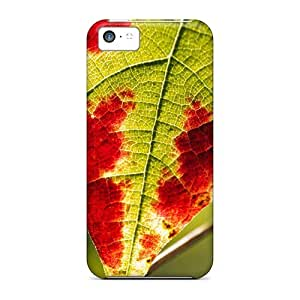Durable Defender Case For Iphone 5c Tpu Cover(rusty Grape Leaf Nature)