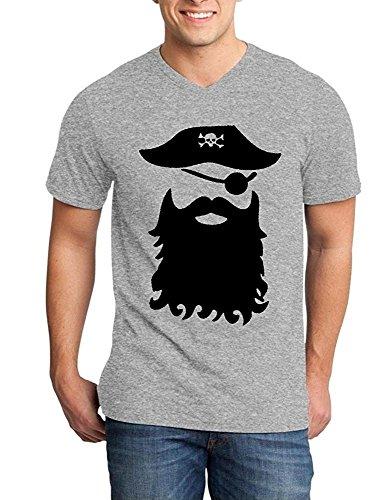 Pirate With Beard Black Mens V Neck T Shirt Jolly Roger Shirts