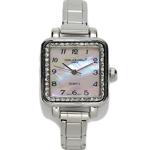Pearl Rose, Cubic Zirconium Italian Charm Bracelet Watch 9mm Link Type, - Birthstone Charm Square Italian