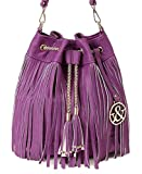 Hue and Ash Fringe Drawstring Cross-Body Bucket Shoulder Handbag (purple)