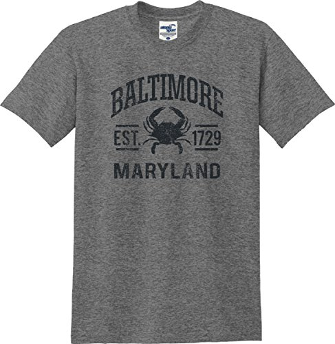 Utopia Sport Baltimore Maryland Established 1729 Distressed T-Shirt (S-5X) (X-Large, Graphite - Inner Shops Harbor In Baltimore