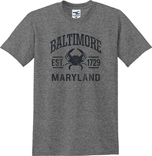 Utopia Sport Baltimore Maryland Established 1729 Distressed T-Shirt (S-5X) (X-Large, Graphite - Baltimore Shops Inner Harbor