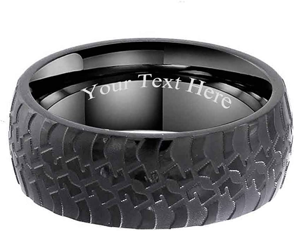 8-13 8MM Stainless Steel w Black Matte Surface Groove Wedding Men/'s Ring Size