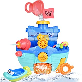 FunLittleToy Fun Little Toys Toddler Bath Toy Boats Set, 2 Bath Boats for Kids, Bathtub Water Toys for Boys and Girls