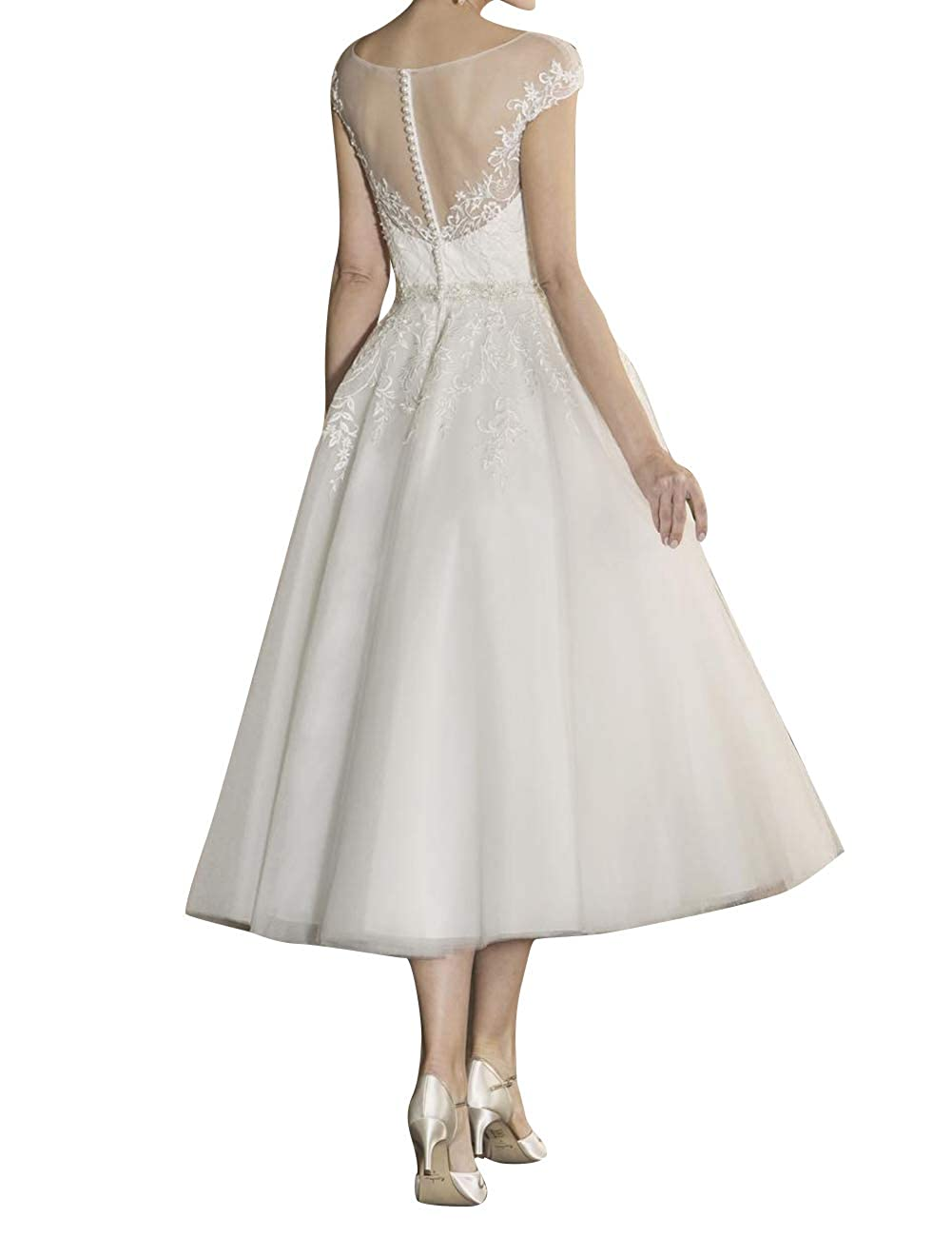 Wedding Dresses Short Bridal Gowns Tea Length Lace Appliques Cap