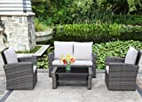4-Piece Outdoor Patio Furniture Set,Wisteria Lane Garden Lawn Rattan Sofa Cushioned Seat Wicker sectional Sofa Seat,Gray