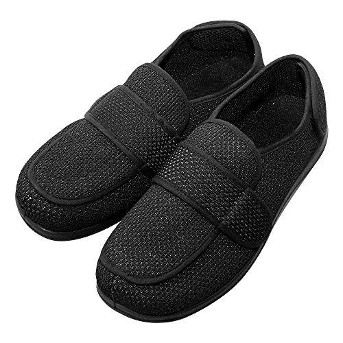 (Cozy Ankle Men's Extra Wide Slippers Adjustable Diabetic Footwear for Arthritis, Edema & Swollen Feet (US 12, Mesh Black))