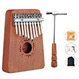 ADM Thumb Piano 10 keys Kalimba African Mahogany Finger Percussion Keyboard Portable with Music Book Tune Hammer and Bag