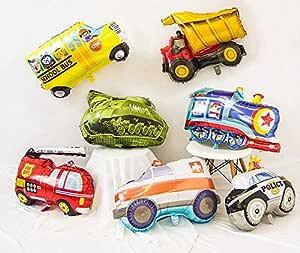 PartyWoo Globo Cars, 7 Piezas Globos Cars Globo Coche Globos Jumbo Globos Aluminio para Fiesta Cars, Decoracion Cumpleaños Niño, Kit Baby Shower Niño, ...