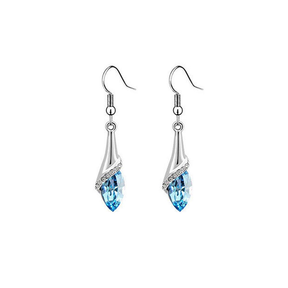 Sapphire Blue Rhinestone Swarovski Element Austrian Crystal Teardrop Pendant Necklace Earring Sets for Women JiangYan-US JY-NL-01-01-0018