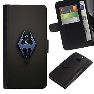 NEECELL GIFT forCITY // Billetera de cuero Caso Cubierta de protección Carcasa / Leather Wallet Case for HTC One M8 // Dragón Sigil