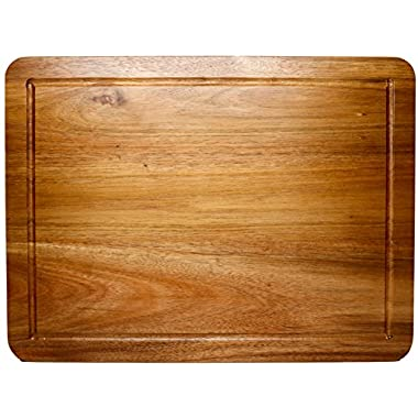 Best Cutting Board & Chopping Block, Double Sided, Juice Groove Hardwood by Somarian, 3/4 Inch Thick, 100% Natural Acacia Wood,  Kitchen Must-Have, Makes a Great Gift for Home Cooks and Chefs (Large)