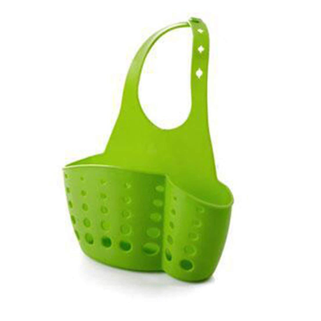 Adjustable Design Snap Sink Faucet Housing Cradle Kitchen Shelving Rack Kitchen Sponge Holder Storage Basket - Green