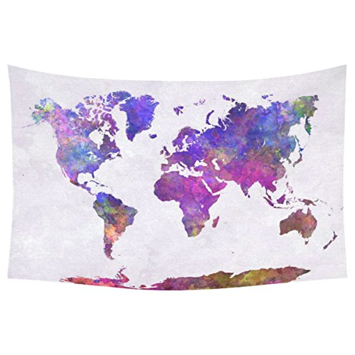 InterestPrint Abstract Art Splatter Painting Home Decor, Watercolor World Map Cotton Linen Tapestry Wall Hanging Art Sets 40 X 60 Inches
