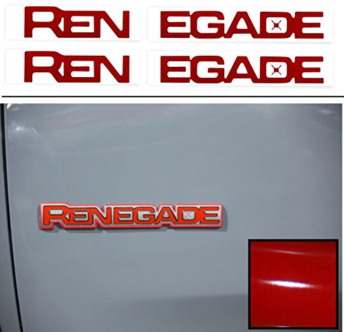 Reflective Concepts RENEGADE Emblem Inlay Decal Stickers for 2015-2018 Jeep Renegade – (Color: Gloss Red)