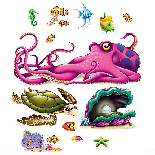 All New UNDER THE SEA Ocean Tropical Luau Party Decoration SEA CREATURE Wall (Ocean Scene Setter)