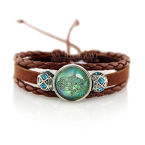 WUSHIMAOYI Hamsa Hand of God Bracelet Evil Eye Bracelet Hamsa Jewelry Hamsa Bracelet Yoga Buddha Menhdi Ganesh Hand of Fatima Bracelet Braid Leather Bracelet (Hand Of Buddha Jewelry)