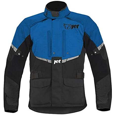 JET Blouson Veste Moto Femme Imperméable avec Armure Textile (Bleu, 4XL (EU 48 50))
